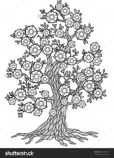 Tree Mandala Coloring Pages Doodle Blossom Tree Coloring Book for Adult Meditation Quote Coloring Pages, Tree Coloring Page, Adult Coloring Book Pages, Flower Coloring Pages, Mandala Coloring Pages, Animal Coloring Pages, Printable Coloring Pages, Colouring Pages, Coloring Books