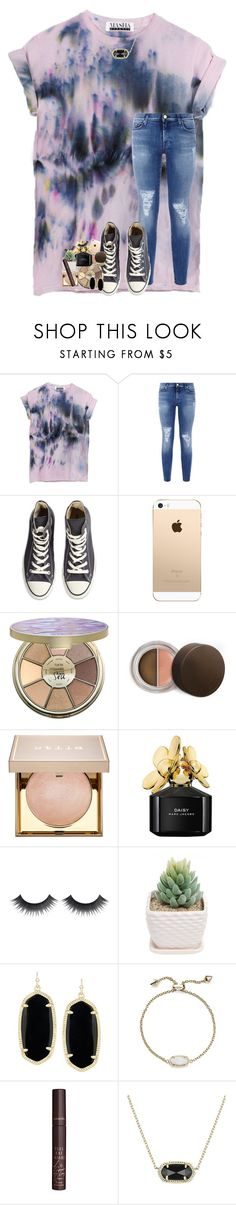 """""""i'm trying to be healthier"""" by lindsaygreys ❤ liked on Polyvore featuring 7 For All Mankind, Converse, tarte, Becca, Stila, Marc Jacobs, Kendra Scott and Charlotte Tilbury"""
