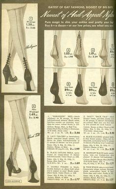 Wonderful vintage novelty print seamed stockings. #vintage #stockings #hosiery