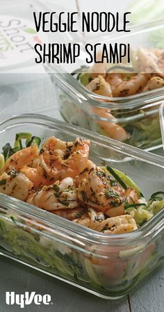Update your traditional shrimp scampi with Hy-Vee Short Cuts zucchini noodles and feta cheese for a delicious veggie noodle shrimp scampi perfect for any night of the week. Healthy Summer Recipes, Healthy Meals For Two, Healthy Crockpot Recipes, Quick Meals, Healthy Eating, Healthy Lunches, Veggie Noodles, Zucchini Noodles, Sugar Free Low Carb Recipe