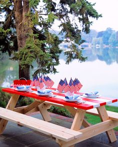 Striped Picnic Table
