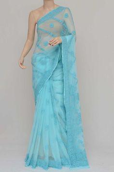 Blue Colour Half Chhadi Jaal Hand Embroidered Lucknowi Chikankari Saree (With Blouse - Georgette) Saree Blouse, Sari, Diy Scarf, Saree Shopping, Half Saree, Sarees Online, India, Colour, Chicken