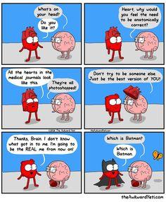 The Awkward Yeti - featuring Heart & Brain Funny Cute, The Funny, Hilarious, Stupid Funny, Cute Comics, Funny Comics, Funny Cartoons, Heart And Brain Comic, The Awkward Yeti