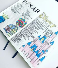 37 Imagination Inspiring Disney Bullet Journal Spreads 37 amazing disney inspired bullet journal spreads that will inspire your inner creative and inner child. Get disney inspired and creative with these spreads Bullet Journal Disney, Bullet Journal Notebook, Bullet Journal School, Bullet Journal Ideas Pages, Bullet Journal Inspiration, Book Journal, Journals, Birthday Bullet Journal, Trip Journal
