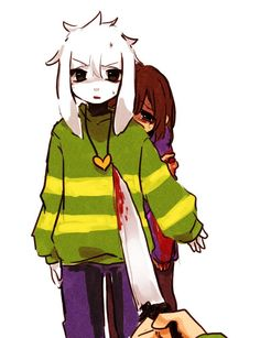 Asriel, Frisk and Chara.