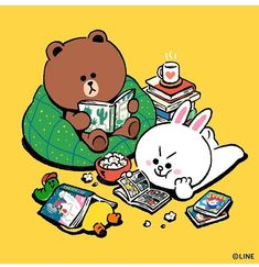 Friends Illustration, Line Illustration, Cute Love Gif, Cute Love Pictures, Cony Brown, Posca Art, Cute Couple Cartoon, Bunny And Bear, Kawaii Doodles