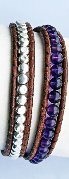 February Birthstone - Amethyst. Amethyst and Silver Metal Cube Brown Leather Wrap Bracelet #amethyst #february