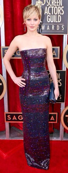 Jenifer Lawrence in Dior on the red carpet at the SAG awards.