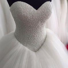 Full Pearls Sweetheart Coset Wedding Dresses,Ball Gowns White Bridal Dresses,Bridal Dresses 2018 by prom dresses, $169.15 USD