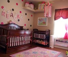 A baby girl's room bursting with dots & fun! Our baby girl, Reagan Moira's, Lots-a-Dots Polka Dot Nursery design was inspired first by my love of polka dots and second by my desire to create a colorful