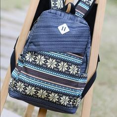 Retro style school backpack Interior Zipper Pocket. Made in polyester. New without tag Bags Backpacks