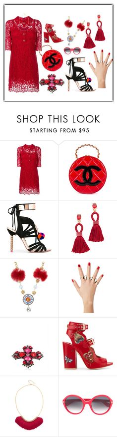 """Button-up Dress..**"" by yagna ❤ liked on Polyvore featuring Dolce&Gabbana, Chanel, Sophia Webster, Oscar de la Renta, Maison Margiela, Erickson Beamon, Laurence Dacade, Serefina, Gucci and vintage"