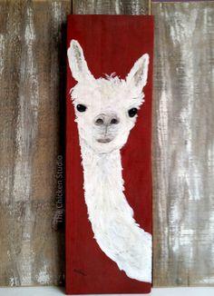 Alpaca Art Original Painting Reclaimed wood wood art