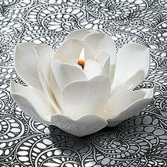 La Vie en Blanc Rose Tealight Candle Holder - Porcelain by Mulhouse,