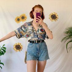 look Ugh adorable! / vintage art shirt, gorgeous soft a - Depop Summer Outfits For Teen Girls Hipster, Korean Summer Outfits, Vintage Summer Outfits, Summer Outfits Women 20s, Preppy Summer Outfits, Outfit Summer, Outfits 80s, Outfits Casual, Grunge Outfits