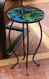 Peacock Side Table $38.66 allthingspeacock.com - Peacock Garden Decor