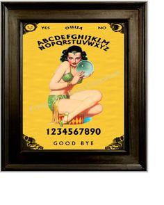 Fortune Teller Pin Up Art Print 8 x 10  Ouija Flapper by fringepop
