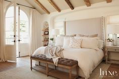 "Luxe Magazine on Twitter: ""Muted colors and elegant linens create a serene and romantic space in this master bedroom"