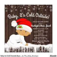 Baby its Cold Outside Boys Christmas Baby Shower Card