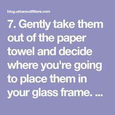 7. Gently take them out of the paper towel and decide where you're going to place them in your glass frame. To hold them in place, use a clear glue to adhere them to the glass, just so they are less likely to slide around.