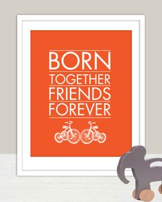 Cute! Instant Download - Born Together Art Print for Twins Nursery