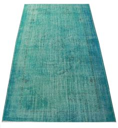 5.5x9.4 FT (169x287 cm) Turquoise Aqua Blue Color OVERDYED Vintage Turkish Rug, Distressed Handmade Carpet, Wool and Cotton, FREE Shipping