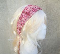 Tie Back Headband Chenille Multicolor Pink Hand Knit by Girlpower