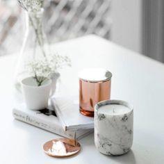 妙home大理石蜡烛杯 北欧玫瑰金杯盖子黄铜金色笔筒大理石收纳杯 Taobao Rose Gold Decor Home Decor Items Home Decor