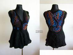 Freeform Crochet Sweater, Crochet Top, Sweater Dress, Crochet Tunic Top, Sweater Cardigan, Boho Chic Top