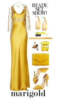 """Stay Golden!"" by flippintickledinc ❤ liked on Polyvore featuring Galvan, Zana Bayne, Ava & Aiden, Alexis Bittar, Lana, Khirma Eliazov, Versace, Too Faced Cosmetics, MAC Cosmetics and marigold"