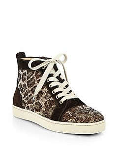 Christian Louboutin Crystal Leopard Pattern Suede High-Top Sneakers