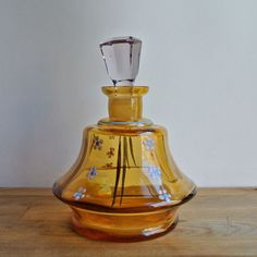 Czechoslovakia Hand Painted Glass Bottle with S... —