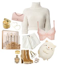 """Gold/Pink/White mess"" by pearlxmilkyway ❤ liked on Polyvore featuring Sephora Collection, Brunello Cucinelli, L'Agent By Agent Provocateur, Gianvito Rossi, Dara Ettinger, Thalia Sodi, Cartier, Peter Thomas Roth and Chanel"