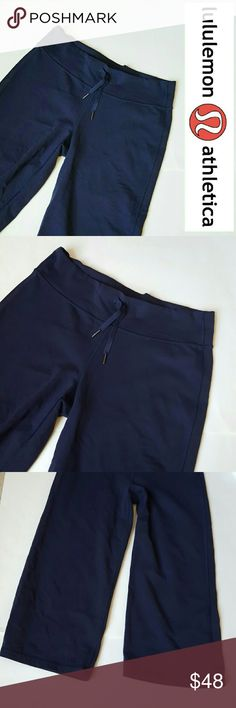 Lululemon navy cropped pants! Size 8 In excellent condition! Gorgeous Lululemon cropped/capri pants. Size 8. No pilling, tears, or rips!Navy color. High quality, soft, stretch material. Bundle up! Offers always welcome:) lululemon athletica Pants