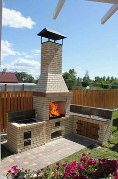 Garden kitchen bbq spaces new ideas Outdoor Kitchen Patio, Outdoor Oven, Outdoor Kitchen Design, Barbecue Design, Grill Design, Patio Design, Backyard Fireplace, Fire Pit Backyard, Backyard Patio