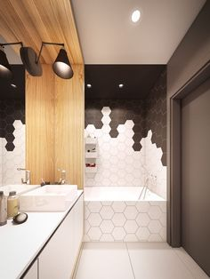 Le carrelage hexagonal de salle de bain, c'est tendance ! bathroom wall covering with hexagon tiles in black and white Bad Inspiration, Bathroom Inspiration, Modern Bathroom Design, Bathroom Interior Design, Bathroom Designs, Design Kitchen, Modern Design, Kitchen Modern, Interior Paint