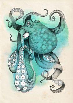 Octopus Art Print by Emily Golden - X-Small Octopus Tattoos, Octopus Art, Le Kraken, Motif Art Deco, Illustrations, Illustration Art, Desenho Tattoo, Tatoo Art, Ocean Art