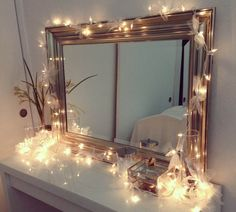 Ikea vanity with Christmas lights, decorated in ribbons! (M-I like the framed mirror. Simple but pretty. And IKEA vanity. My New Room, My Room, Rest Room, Girl Room, Ikea Vanity, Vanity Set, Vanity Ideas, Mirror Ideas, Diy Vanity Table