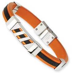IceCarats® Designer Jewelry Stainless Steel Black And Orange Rubber 8In Bracelet In 8 Inch IceCarats http://www.amazon.com/dp/B009NNC274/ref=cm_sw_r_pi_dp_Ajr1wb1NKQFHG