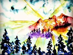Sunset  #sunset #mountains #forest #watercolor #watercolors Watercolors, Mountains, Sunset, Abstract, Artwork, Painting, Summary, Water Colors, Work Of Art