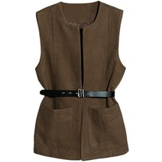 Patch-pockets Open-front Belted Md-long Woolen Vest ($33) ❤ liked on Polyvore featuring outerwear, vests, tops, blackfive, jackets, brown vest, brown wool vest, long wool vest, vest waistcoat y long vest