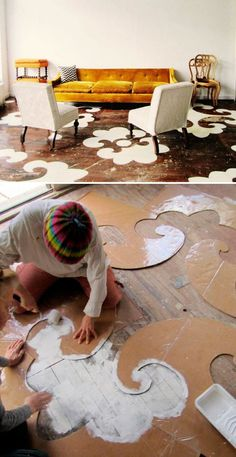What an awesome #DIY idea!  Put some fun design on your hardwood floors by using stencils and make your home more unique. #homeimprovement