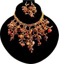 Handmade Coral Like Seed Bead Necklace Set / AZSENS202-BRW Arras Creations http://www.amazon.com/dp/B00IUC015Y/ref=cm_sw_r_pi_dp_oAZfub1F6P0VG