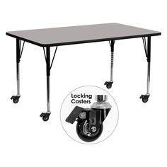 Flash Furniture Mobile 30W x 72L in. Activity Table with Thick Top and Standard Adjustable Legs - XU-A3072-REC-GY-H-A-CAS-GG