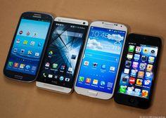 Samsung Galaxy S3, HTC One, Samsung Galaxy S4, iPhone 5