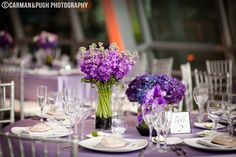 A lavender wedding outfitted with purple hydrangeas, orchids, and summer blooms looks gorgeous at this Akron Art Museum wedding reception