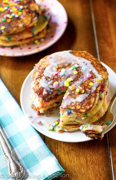 Fluff and piled high, these Funfetti Buttermilk Pancakes are the best way to start the morning!