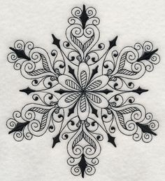 Machine Embroidery Designs at Embroidery Library! - A Blackwork Snowflakes Design Pack - Sm Mandala Arm Tattoo, Mandala Art, Machine Embroidery Designs, Embroidery Patterns, Hand Embroidery, Blackwork Embroidery, Snow Flake Tattoo, Zentangle Patterns, Zentangles