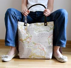Items similar to World Map Printed Fabric Tote Bag - Daily, Weekly, School Bag, Diaper Bag, Book or Magazine Tote Bag - Natural Colors on Etsy Fabric Tote Bags, Dressing, School Bags, School Tote, Bag Making, Fashion Bags, Printing On Fabric, Crochet, Purses And Bags