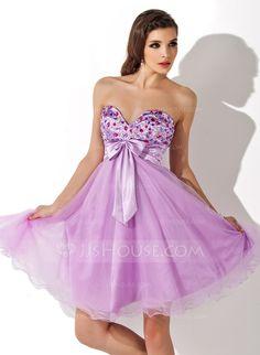 Empire Sweetheart Knee-Length Charmeuse Homecoming Dress With Ruffle Beading  Bow(s) (022007287) f1133ce92